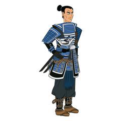 animation warrior man samurai to ancient clothes. vector illustration