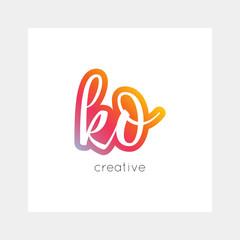 KO logo, vector. Useful as branding, app icon, alphabet combination, clip-art.