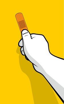 Hand sticking adhesive bandage on yellow background