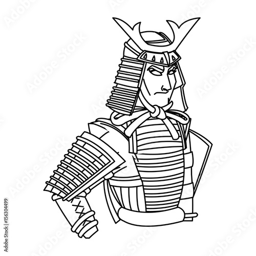 Animation Samurai Man To Ancient Clothes Wearing Armor Helmet Mask