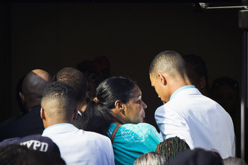Esaw Garner, wife of Eric Garner, arrives to attend his funeral in New York