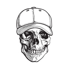 Hand drawn human skull wearing black and white unlabelled baseball cap, sketch vector illustration isolated on white background. Realistic hand drawing of skull wearing baseball cap