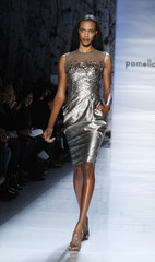A model presents a creation at the Pamella Roland Fall/Winter 2012 collection show during New York Fashion Week