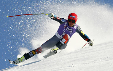 Miller of the U.S. speeds down in the men's Super G competition during the FIS Alpine Skiing World Cup finals in the Swiss ski resort of Lenzerheide