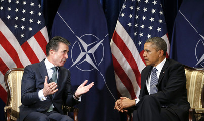 U.S. President Obama meets with NATO Secretary General Fogh Rasmussen in Brussels