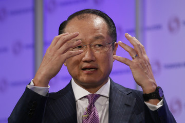 World Bank President Jim Yong Kim speaks at a Thomson Reuters Newsmaker event, at Canary Wharf in east London