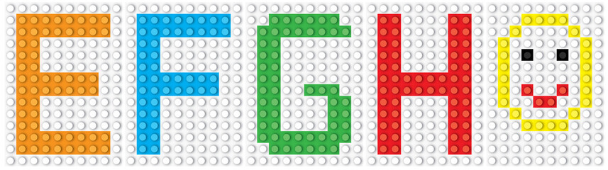 Blocks:  alphabet set, letters :E F G H and smiling face /  vector illustration