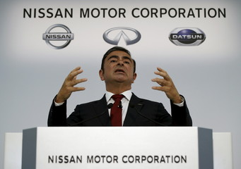 Ghosn speaks at a news conference in Yokohama