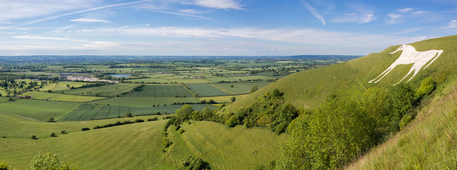 View from Westbury White Horse. Hill figure created by exposing white chalk on the escarpment of Salisbury Plain in Wiltshire, UK