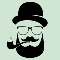 Man with glasses and a hat with a pipe, a mustache. Hipster. Flat design. Vector logotype