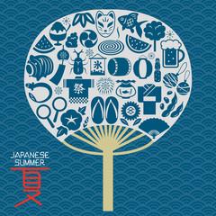 日本の夏 うちわ型のアイコンセット