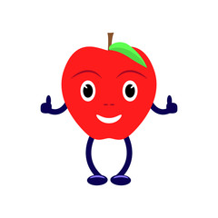 Vector cartoon character with a red apple