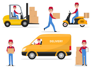 Vector illustration of a set cartoon delivery man