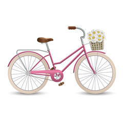 Poster de jardin Velo Retro bycicle with basket of flowers. Healthy lifestyle, fitness. Vector illustration EPS10.