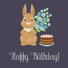 Happy birthday card with bunny/rabbit
