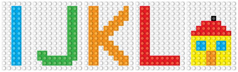 Blocks:  alphabet set, letters : I J K L  and the house/  vector illustration