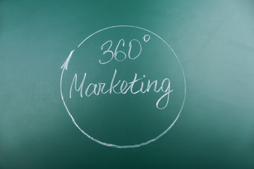 Chalkboard with text 360 MARKETING
