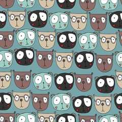 Seamless pattern with little bears. Funny cute animal faces. Bears with big eyes.