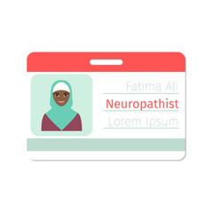 Female neuropathist medical specialist badge