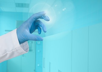 Doctor's Hand touching blue medical background air