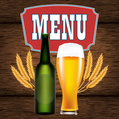 Menu or poster with a realistic glass and a bottle of beer on the background of a wooden table of boards. Vector illustration with alcoholic drinks.