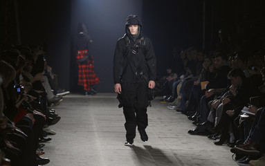 A model presents a creation from the Y-3 Fall/Winter 2011 collection during New York Fashion Week
