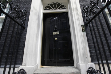 Door of the British prime minister's residence of 10 Downing Street is seen in London