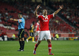 Benfica's Rodrigo Moreno reacts after a missed scoring opportunity against Beira Mar during their Portuguese Premier League soccer match in Lisbon