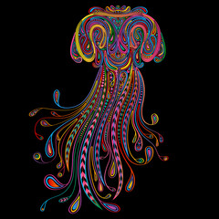 Colored vector jellyfish of beautiful patterns on a black background