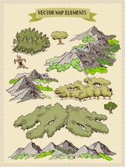 Vector map elements, colorful, hand draw - forest, tree, wood