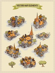 Vector map elements, colorful, hand draw - settlement, city, village