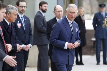 Britain's Prince Charles departs after a visit to the Armed Forces Retirement Home in Washington