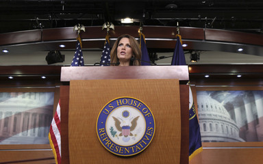 Republican presidential candidate Rep. Bachmann speaks during a news conference in Washington