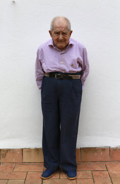 Garcia poses for a portrait in San Juan de Dios nursing home on International Day of Older Persons in Seville