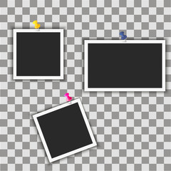Instant photo frames with pins on transparent background. Vector illustration