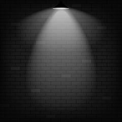 Vector scene illuminated spotlight. Black bricks wall background