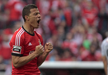 Benfica's Rodrigo Lima  reacts during their Portuguese Premier League soccer match against Olhanense held at Luz stadium in Lisbon
