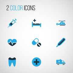 Drug Colorful Icons Set. Collection Of Heartbeat, Ambulance, Help And Other Elements. Also Includes Symbols Such As Pills, Syringe, Clinic.