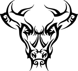 tribal - head bull for tattoo