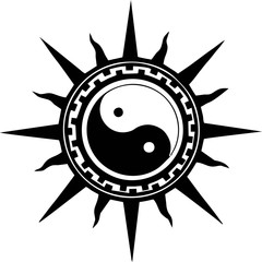 illustration yin yang sun for tattoo