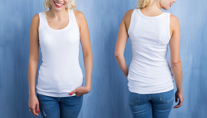 White tank top mockup, front and back