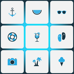 Season Colorful Icons Set. Collection Of Lifebuoy, Palms, Sailing And Other Elements. Also Includes Symbols Such As Spectacles, Ice, Cream.