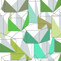 Seamless texture with green geometric pattern