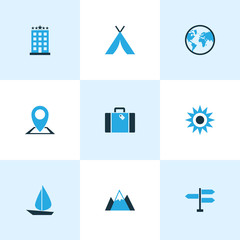 Traveling Colorful Icons Set. Collection Of Mountains, Earth, Tent And Other Elements. Also Includes Symbols Such As Sun, Bag, World.