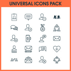 Social Network Icons Set. Collection Of Confirm Profile, Badge, Read Message And Other Elements. Also Includes Symbols Such As Remove, Talk, Human.