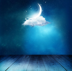 Ramadan Kareem background with table.Crescent moon and cloud