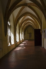 The corridor in the old church