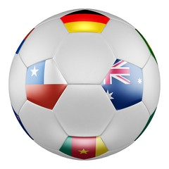Confederations Cup 2017 Group B. Match Chile vs Australia. Soccer ball with flags of Germany, Australia, Chile, Cameroon on white screen. 3D rendering.