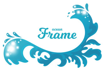 Hand drawn ocean wave stylized as frame