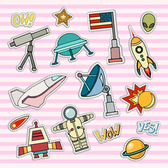 Space patch badges. Vector template illustration. Moon, planet, rocket, earth, cosmonaut comet universe Classification milky way Cosmos